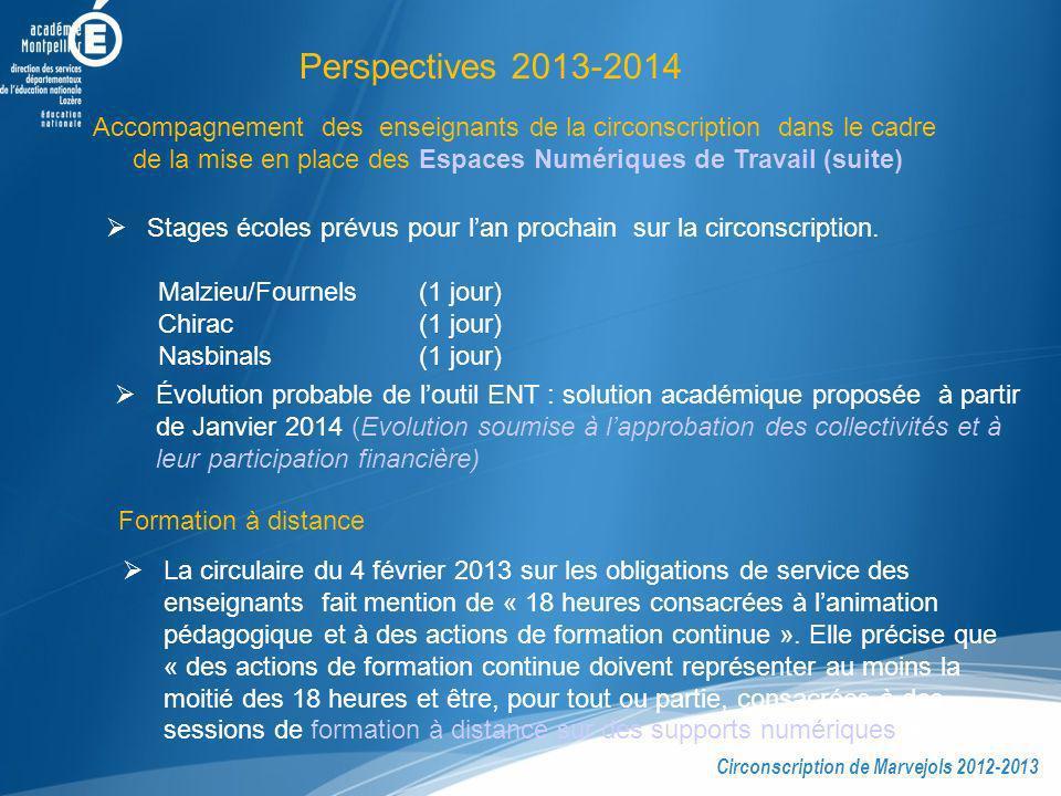 Perspectives 2013-2014 Accompagnement des enseignants de la circonscription dans le cadre de la mise en place des Espaces Numériques de Travail (suite