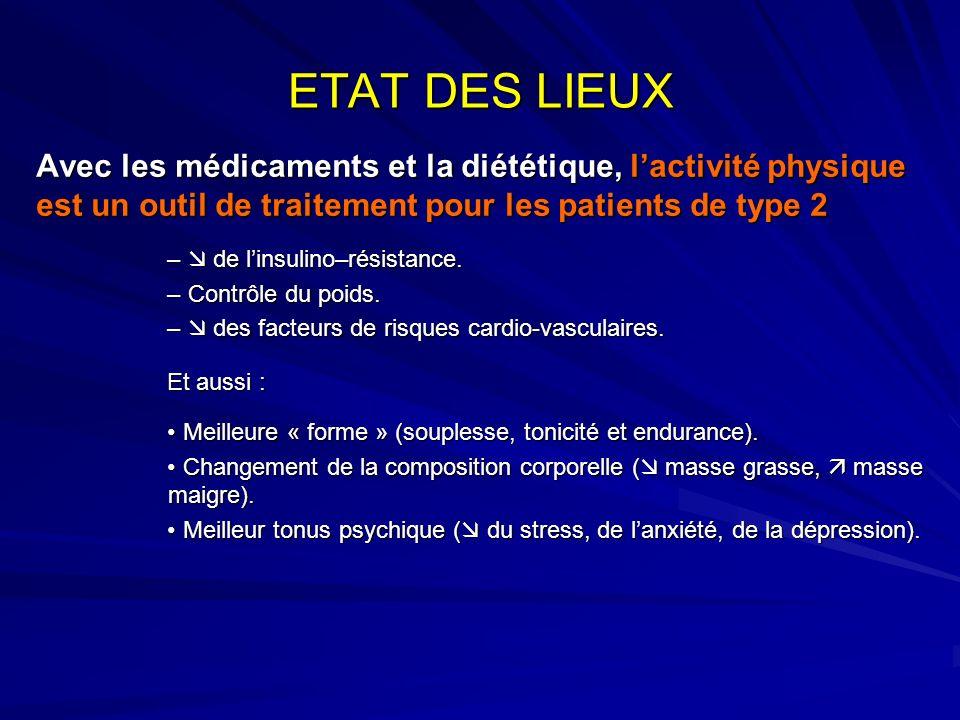 ETAT DES LIEUX Avec les médicaments et la diététique, lactivité physique est un outil de traitement pour les patients de type 2 – de linsulino–résista