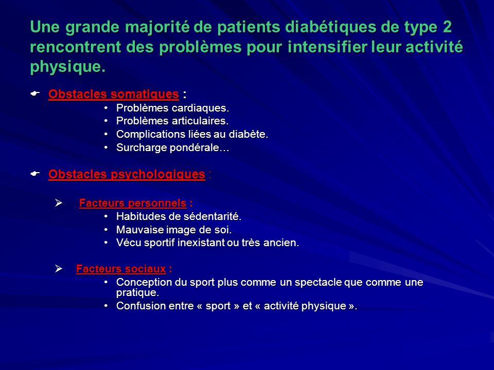 Une grande majorité de patients diabétiques de type 2 rencontrent des problèmes pour intensifier leur activité physique. Obstacles somatiques : Obstac