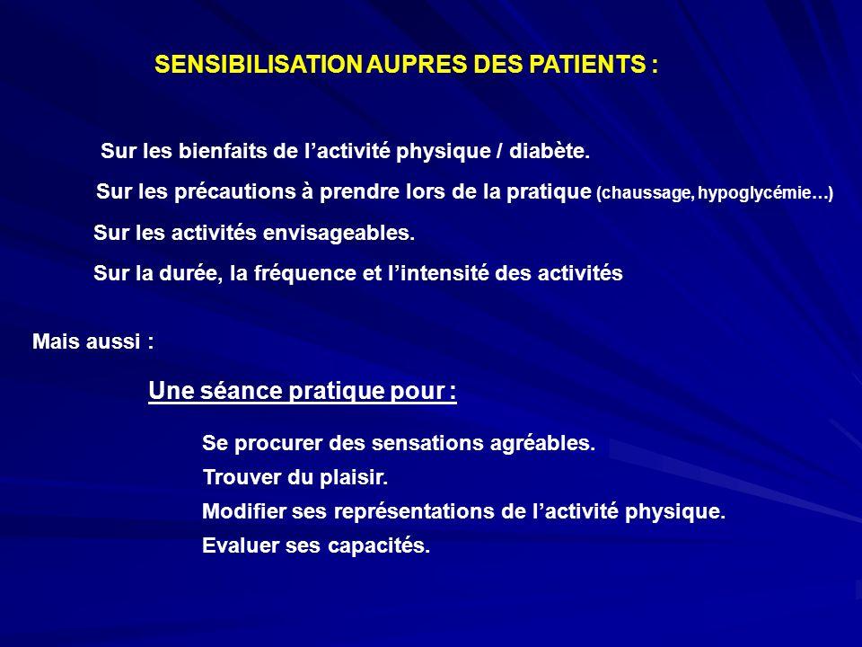SENSIBILISATION AUPRES DES PATIENTS : Sur les bienfaits de lactivité physique / diabète. Sur les précautions à prendre lors de la pratique (chaussage,