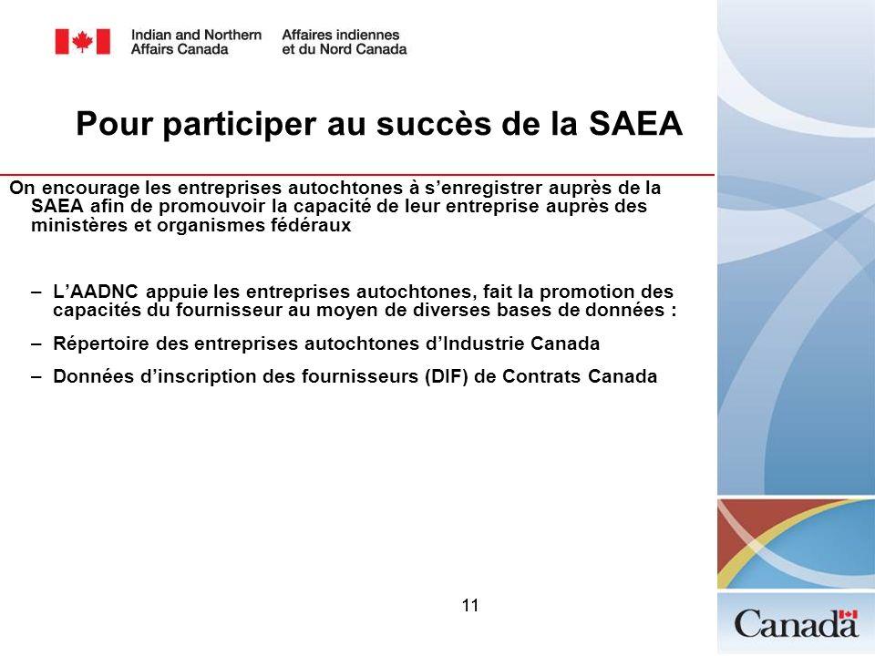 11 Pour participer au succès de la SAEA On encourage les entreprises autochtones à senregistrer auprès de la SAEA afin de promouvoir la capacité de le