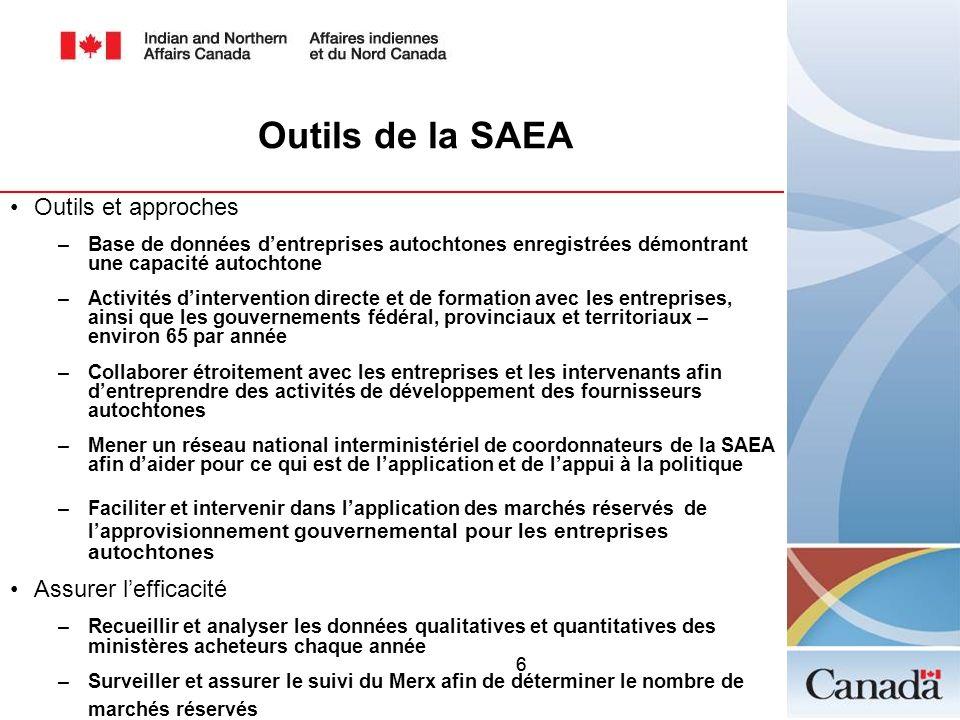 66 Outils de la SAEA Outils et approches –Base de données dentreprises autochtones enregistrées démontrant une capacité autochtone –Activités dinterve