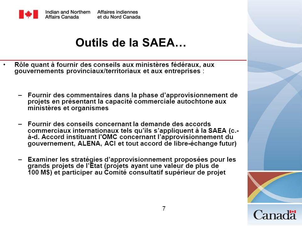 7 Outils de la SAEA… Rôle quant à fournir des conseils aux ministères fédéraux, aux gouvernements provinciaux/territoriaux et aux entreprises : –Fourn