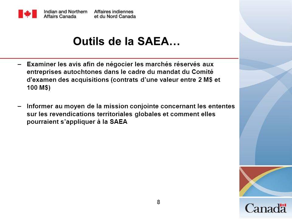 8 Outils de la SAEA… –Examiner les avis afin de négocier les marchés réservés aux entreprises autochtones dans le cadre du mandat du Comité d'examen d