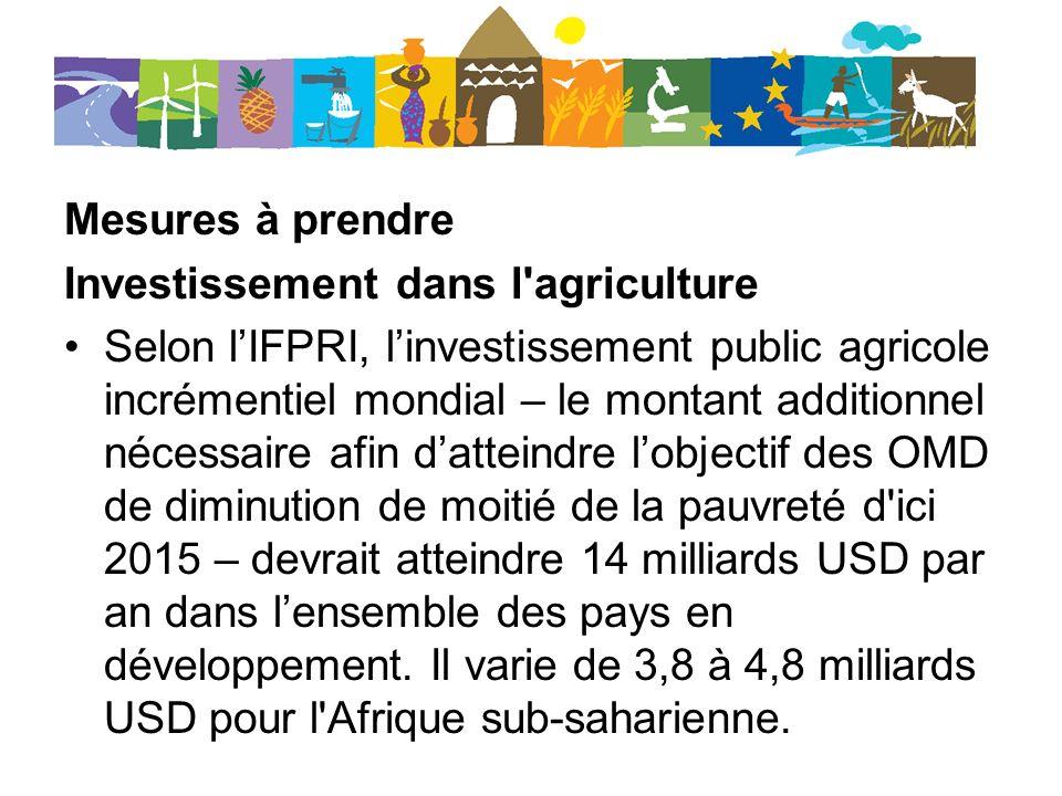 Mesures à prendre Investissement dans l'agriculture Selon lIFPRI, linvestissement public agricole incrémentiel mondial – le montant additionnel nécess