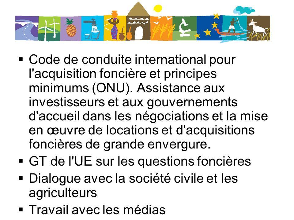Code de conduite international pour l'acquisition foncière et principes minimums (ONU). Assistance aux investisseurs et aux gouvernements d'accueil da