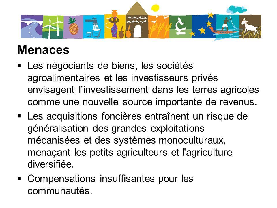 Menaces Les négociants de biens, les sociétés agroalimentaires et les investisseurs privés envisagent linvestissement dans les terres agricoles comme