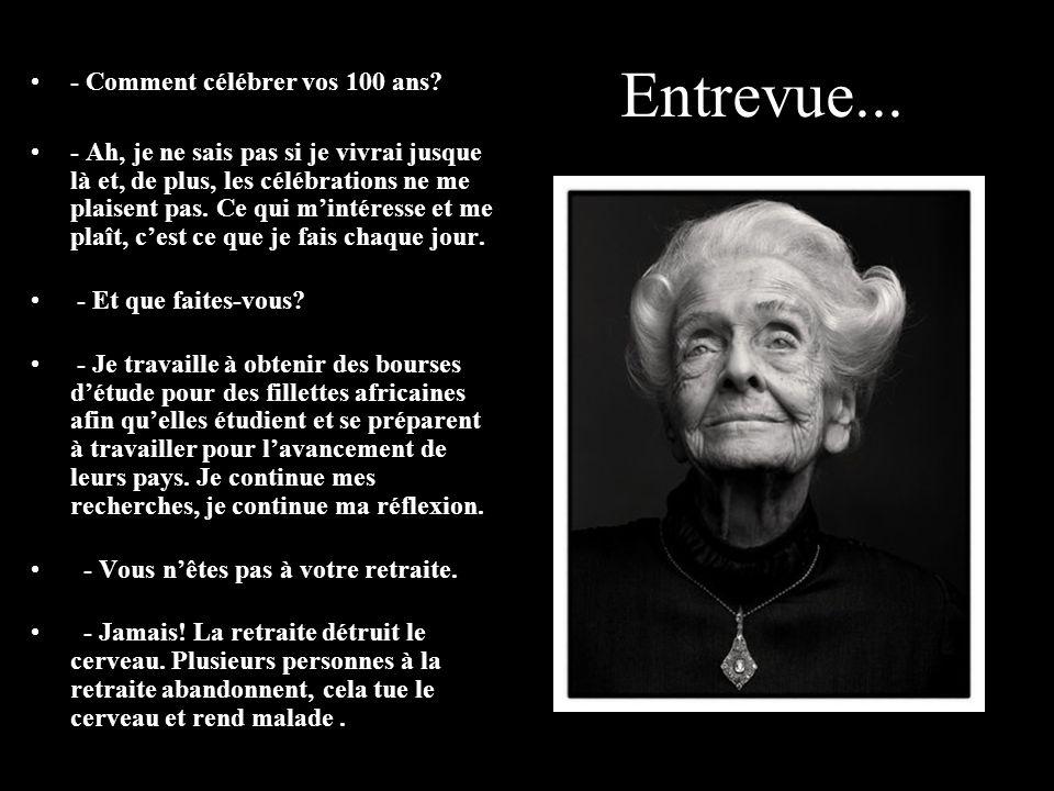 RITA LEVI-MONTALCINI, NEUROLOGUE PRIX NOBEL DE MÉDECINE. Entrevue du 22/12/2005 Née le 22 avril 1909 à Turin, Piémont, elle est actuellement la lauréa