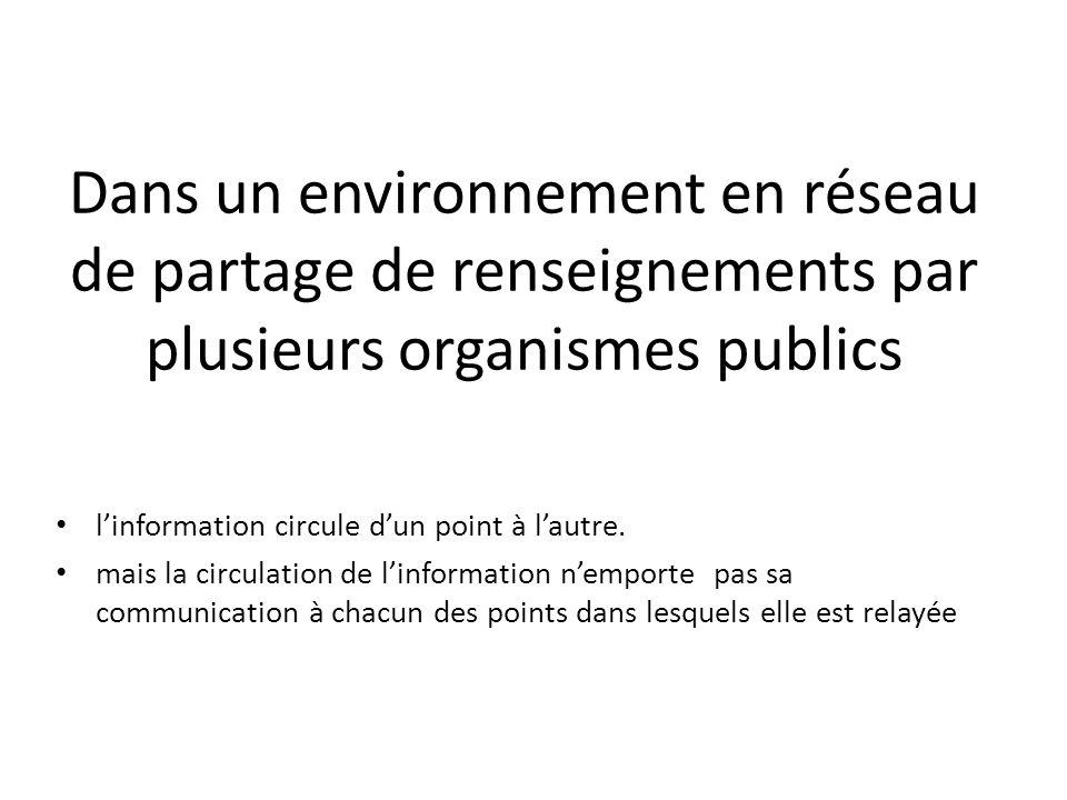 Dans un environnement en réseau de partage de renseignements par plusieurs organismes publics linformation circule dun point à lautre. mais la circula