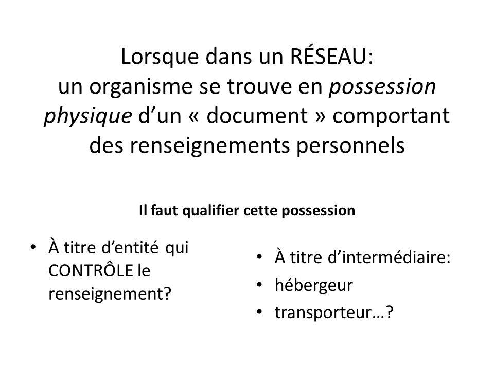 Lorsque dans un RÉSEAU: un organisme se trouve en possession physique dun « document » comportant des renseignements personnels Il faut qualifier cett