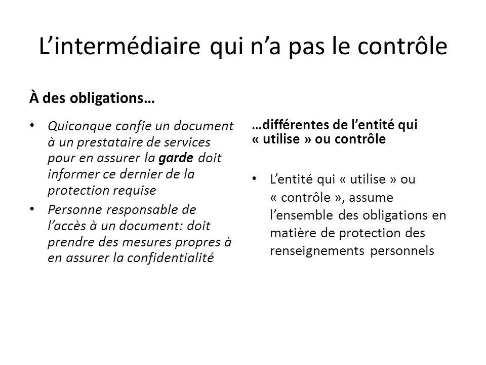 Lintermédiaire qui na pas le contrôle À des obligations… Quiconque confie un document à un prestataire de services pour en assurer la garde doit infor