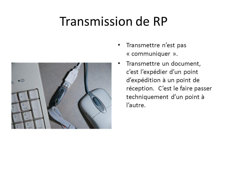 Transmission de RP Transmettre nest pas « communiquer ». Transmettre un document, cest lexpédier dun point dexpédition à un point de réception. Cest l