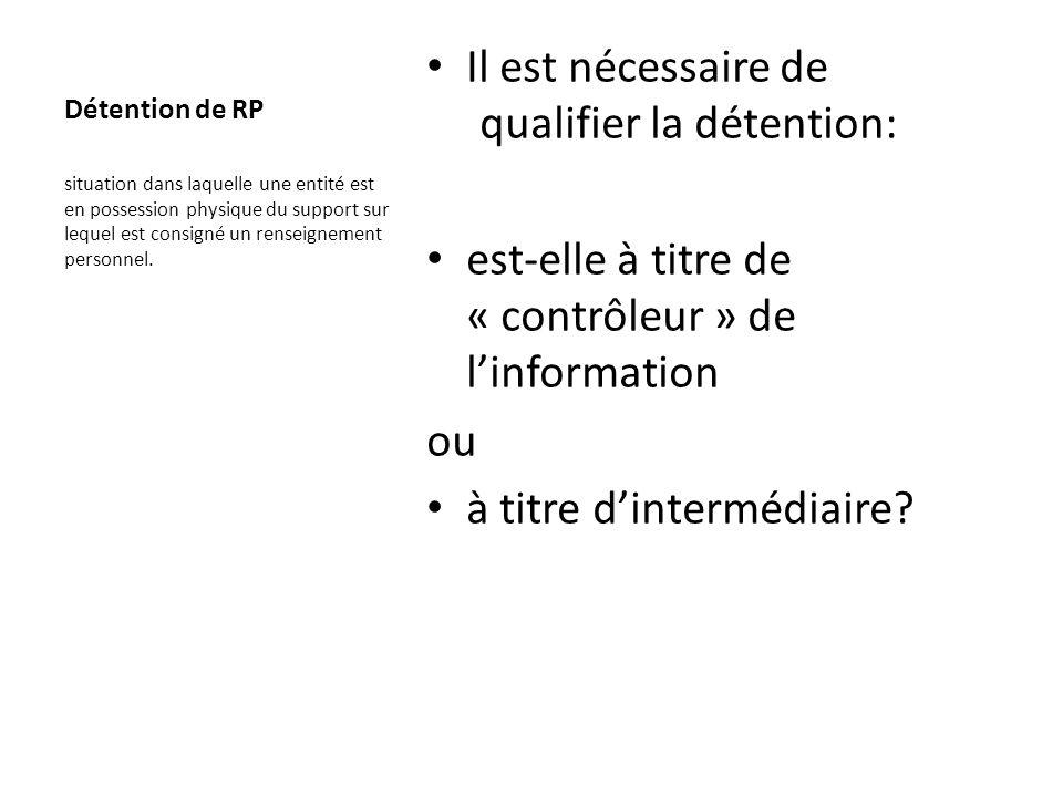 Détention de RP Il est nécessaire de qualifier la détention: est-elle à titre de « contrôleur » de linformation ou à titre dintermédiaire? situation d