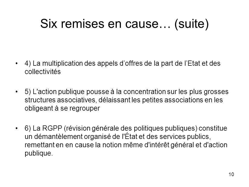 10 Six remises en cause… (suite) 4) La multiplication des appels doffres de la part de lEtat et des collectivités 5) L'action publique pousse à la con