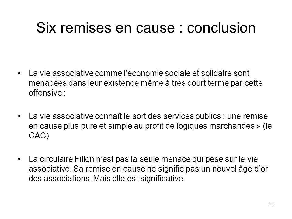 11 Six remises en cause : conclusion La vie associative comme léconomie sociale et solidaire sont menacées dans leur existence même à très court terme