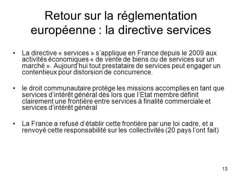 13 Retour sur la réglementation européenne : la directive services La directive « services » sapplique en France depuis le 2009 aux activités économiq