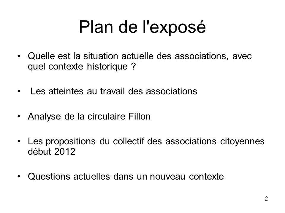 2 Plan de l'exposé Quelle est la situation actuelle des associations, avec quel contexte historique ? Les atteintes au travail des associations Analys