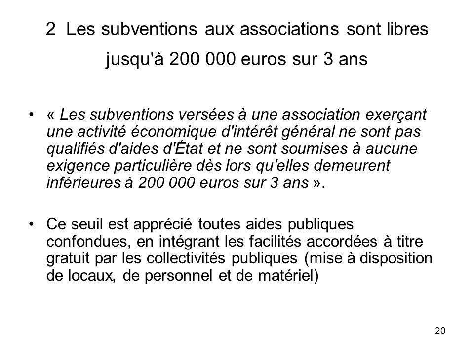 20 2 Les subventions aux associations sont libres jusqu'à 200 000 euros sur 3 ans « Les subventions versées à une association exerçant une activité éc