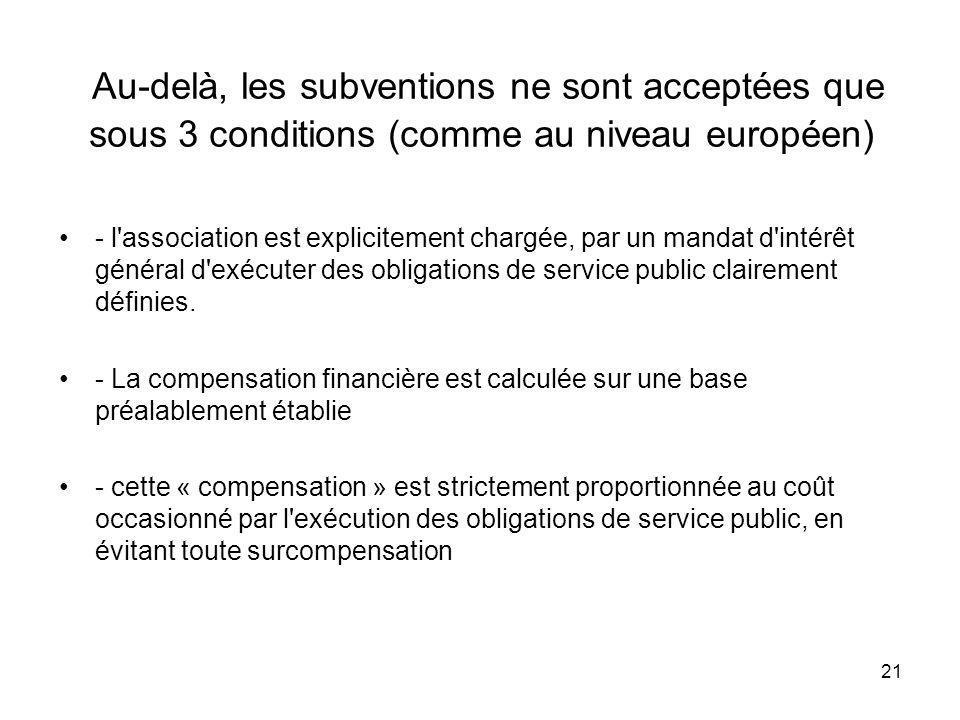 21 Au-delà, les subventions ne sont acceptées que sous 3 conditions (comme au niveau européen) - l'association est explicitement chargée, par un manda