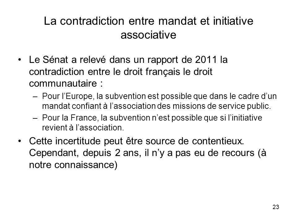 23 La contradiction entre mandat et initiative associative Le Sénat a relevé dans un rapport de 2011 la contradiction entre le droit français le droit