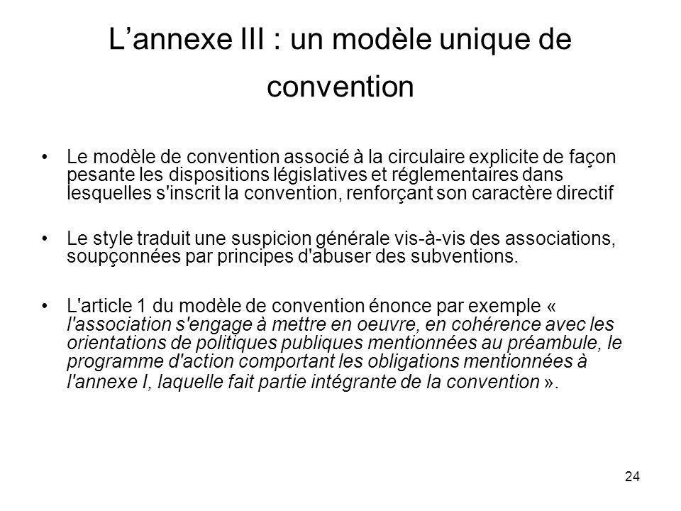 24 Lannexe III : un modèle unique de convention Le modèle de convention associé à la circulaire explicite de façon pesante les dispositions législativ