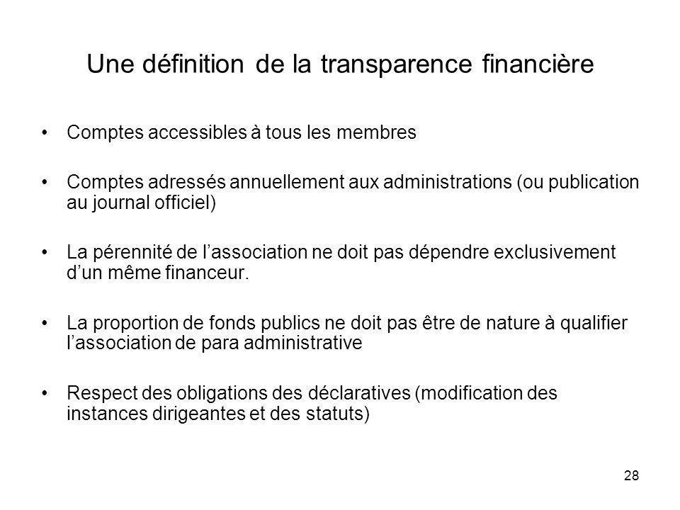 28 Une définition de la transparence financière Comptes accessibles à tous les membres Comptes adressés annuellement aux administrations (ou publicati