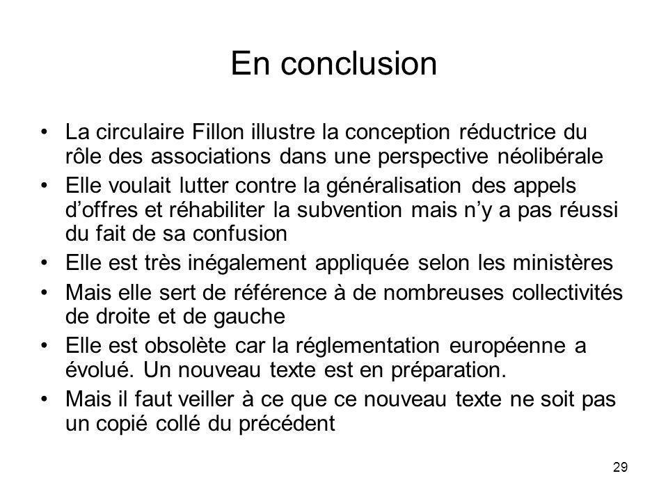 29 En conclusion La circulaire Fillon illustre la conception réductrice du rôle des associations dans une perspective néolibérale Elle voulait lutter