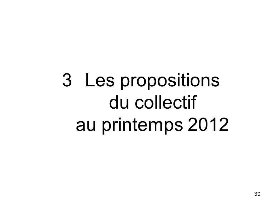 30 3Les propositions du collectif au printemps 2012
