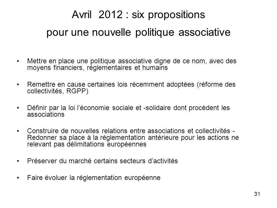 31 Avril 2012 : six propositions pour une nouvelle politique associative Mettre en place une politique associative digne de ce nom, avec des moyens fi