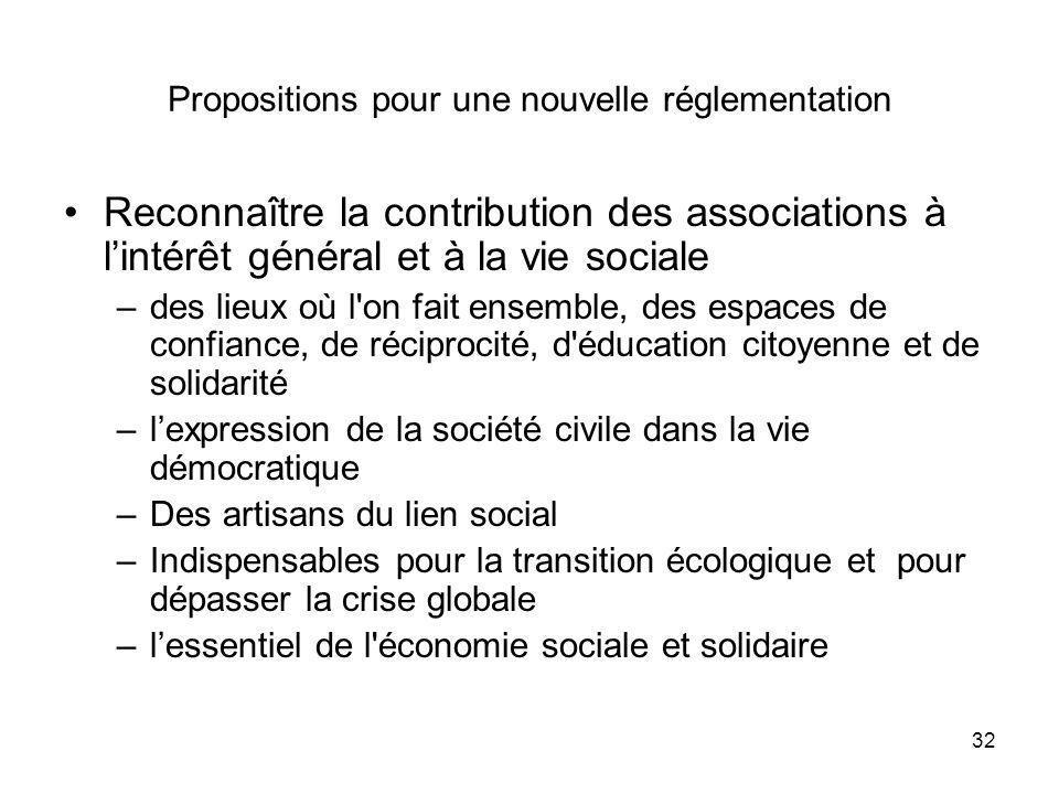 32 Propositions pour une nouvelle réglementation Reconnaître la contribution des associations à lintérêt général et à la vie sociale –des lieux où l'o