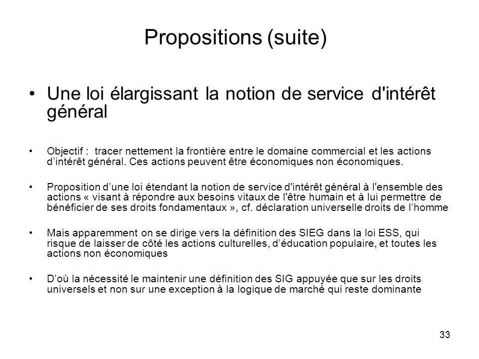 33 Propositions (suite) Une loi élargissant la notion de service d'intérêt général Objectif : tracer nettement la frontière entre le domaine commercia