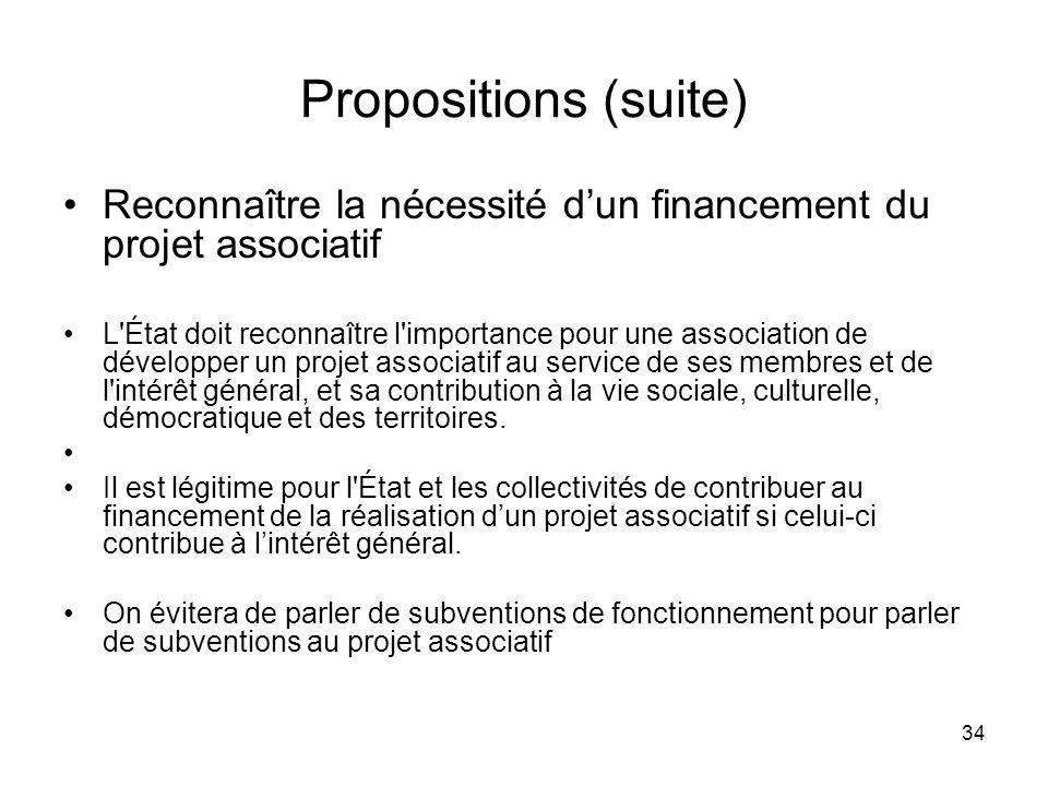 34 Propositions (suite) Reconnaître la nécessité dun financement du projet associatif L'État doit reconnaître l'importance pour une association de dév