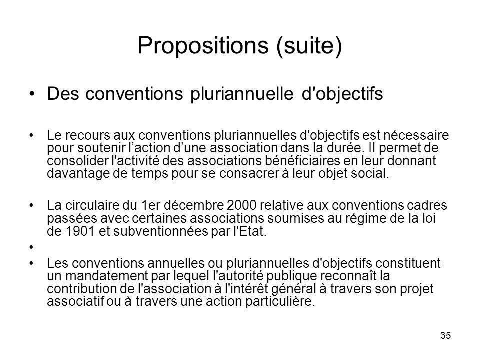 35 Propositions (suite) Des conventions pluriannuelle d'objectifs Le recours aux conventions pluriannuelles d'objectifs est nécessaire pour soutenir l