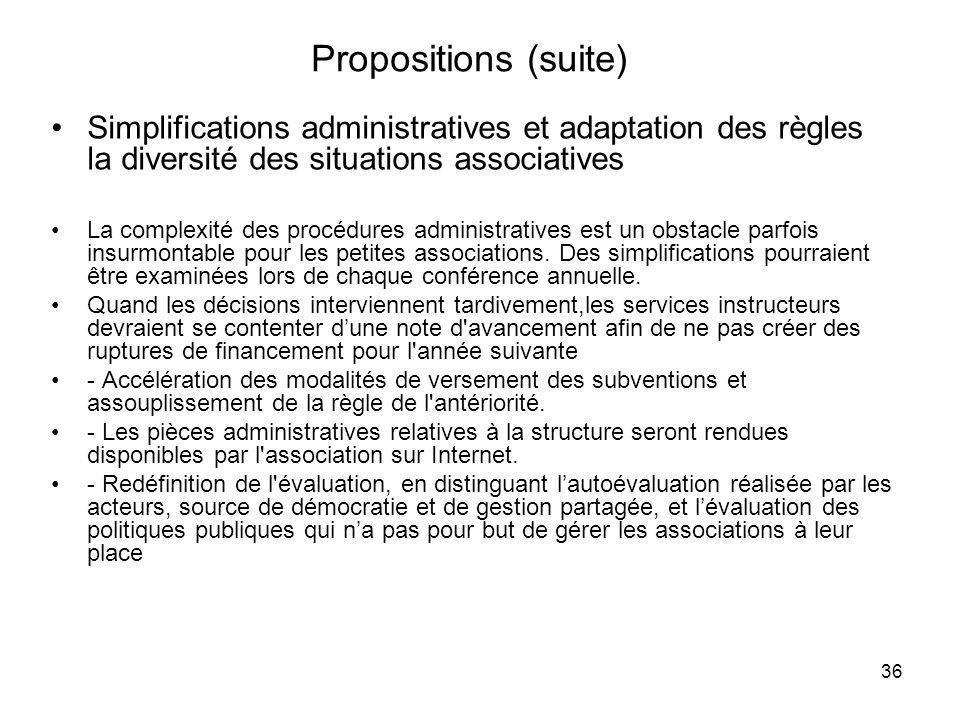 36 Propositions (suite) Simplifications administratives et adaptation des règles la diversité des situations associatives La complexité des procédures