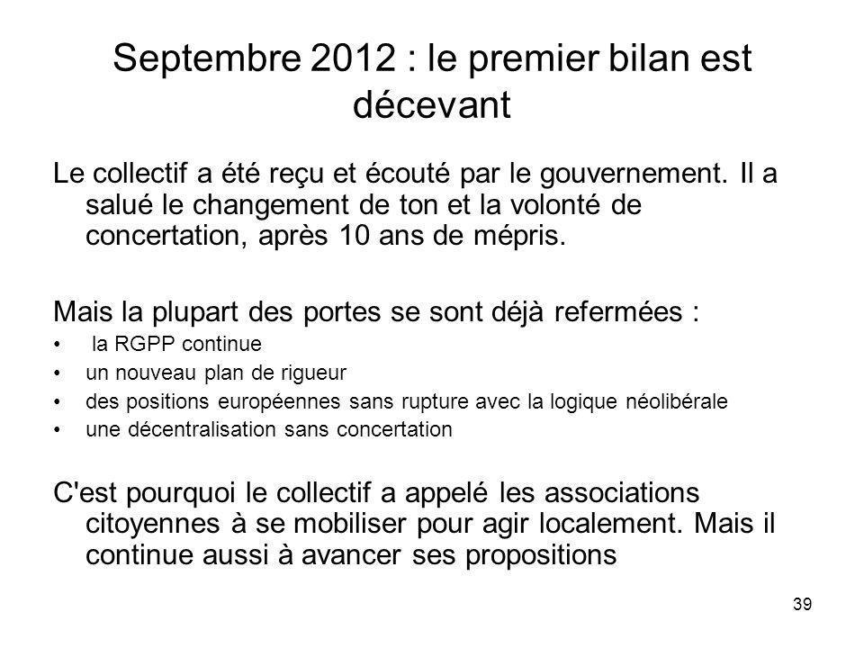 39 Septembre 2012 : le premier bilan est décevant Le collectif a été reçu et écouté par le gouvernement. Il a salué le changement de ton et la volonté