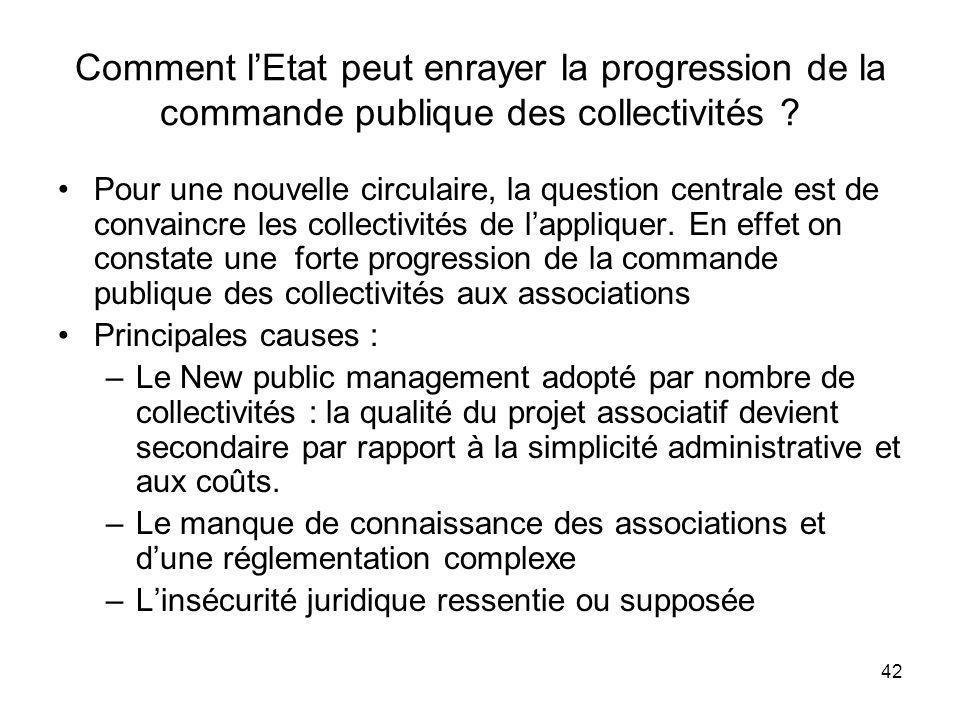 42 Comment lEtat peut enrayer la progression de la commande publique des collectivités ? Pour une nouvelle circulaire, la question centrale est de con