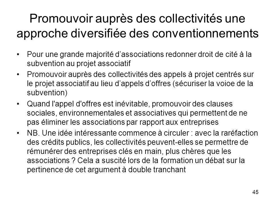 45 Promouvoir auprès des collectivités une approche diversifiée des conventionnements Pour une grande majorité dassociations redonner droit de cité à