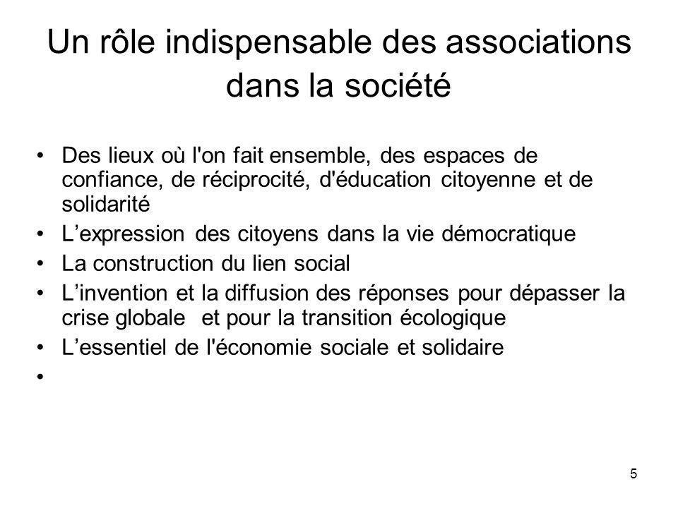 5 Un rôle indispensable des associations dans la société Des lieux où l'on fait ensemble, des espaces de confiance, de réciprocité, d'éducation citoye