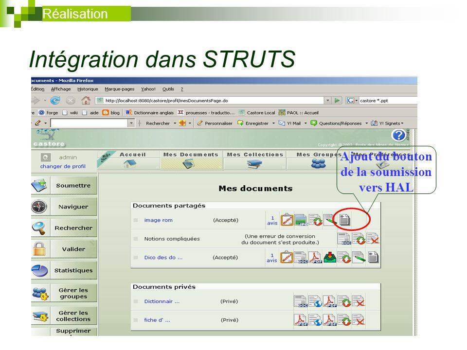 Intégration dans STRUTS Réalisation Ajout du bouton de la soumission vers HAL