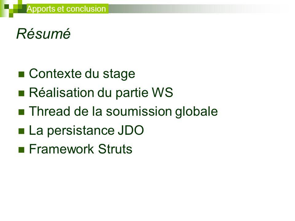 Résumé Contexte du stage Réalisation du partie WS Thread de la soumission globale La persistance JDO Framework Struts Apports et conclusion