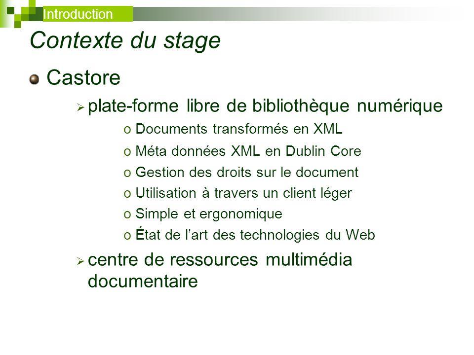 Contexte du stage Castore plate-forme libre de bibliothèque numérique oDocuments transformés en XML oMéta données XML en Dublin Core oGestion des droi