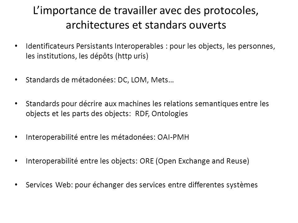 Limportance de travailler avec des protocoles, architectures et standars ouverts Identificateurs Persistants Interoperables : pour les objects, les pe