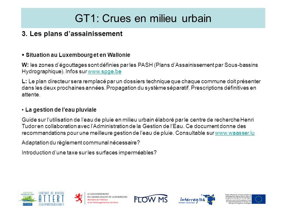 GT1: Crues en milieu urbain Situation au Luxembourg et en Wallonie W: les zones dégouttages sont définies par les PASH (Plans dAssainissement par Sous