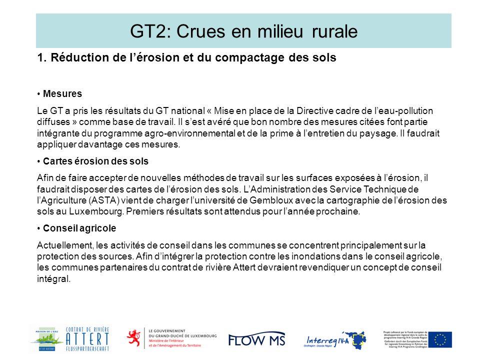GT2: Crues en milieu rurale Mesures Le GT a pris les résultats du GT national « Mise en place de la Directive cadre de leau-pollution diffuses » comme