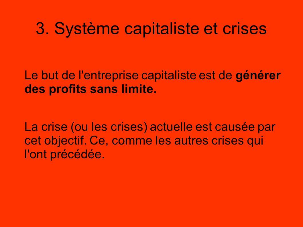 3. Système capitaliste et crises Le but de l'entreprise capitaliste est de générer des profits sans limite. La crise (ou les crises) actuelle est caus