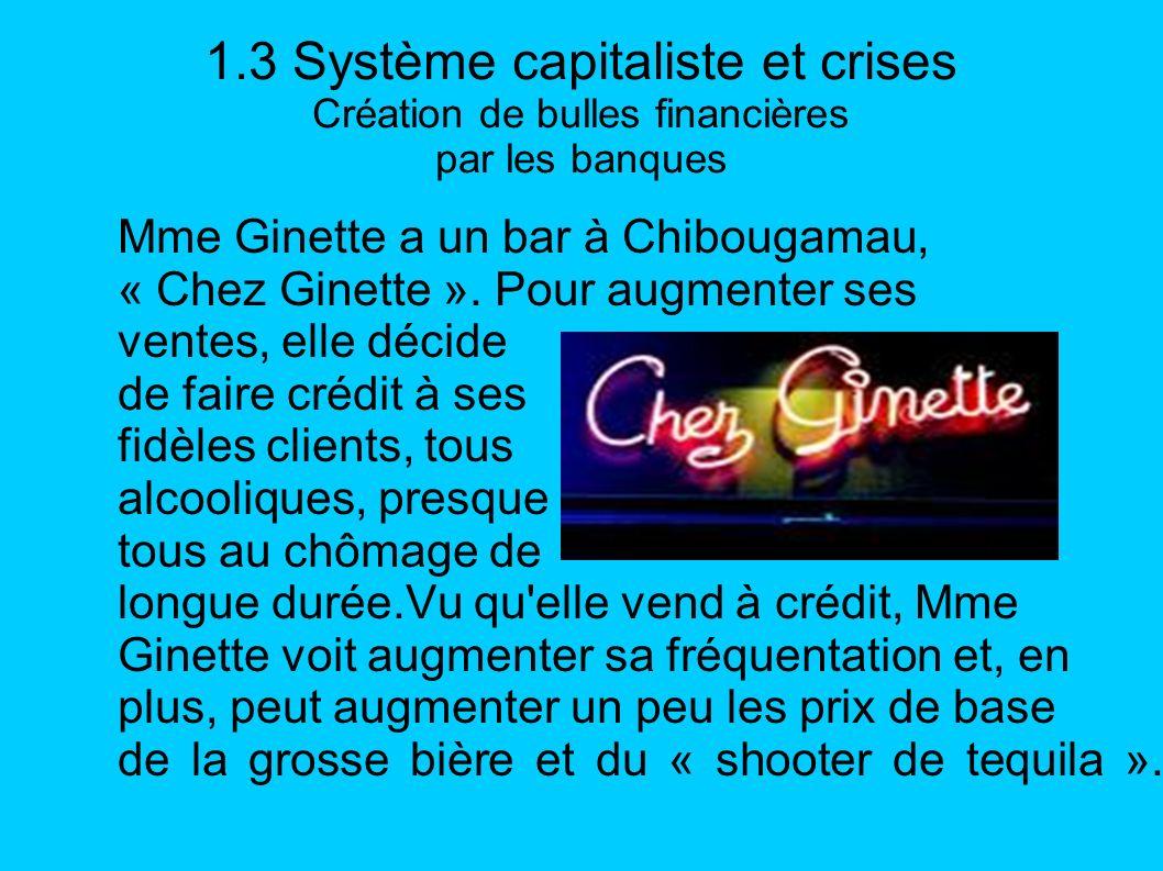 1.3 Système capitaliste et crises Création de bulles financières par les banques Mme Ginette a un bar à Chibougamau, « Chez Ginette ». Pour augmenter