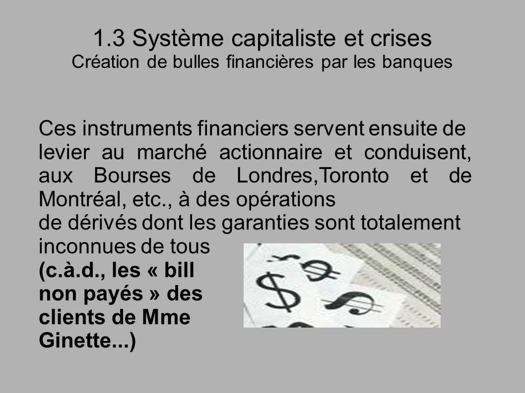 1.3 Système capitaliste et crises Création de bulles financières par les banques Ces instruments financiers servent ensuite de levier au marché action
