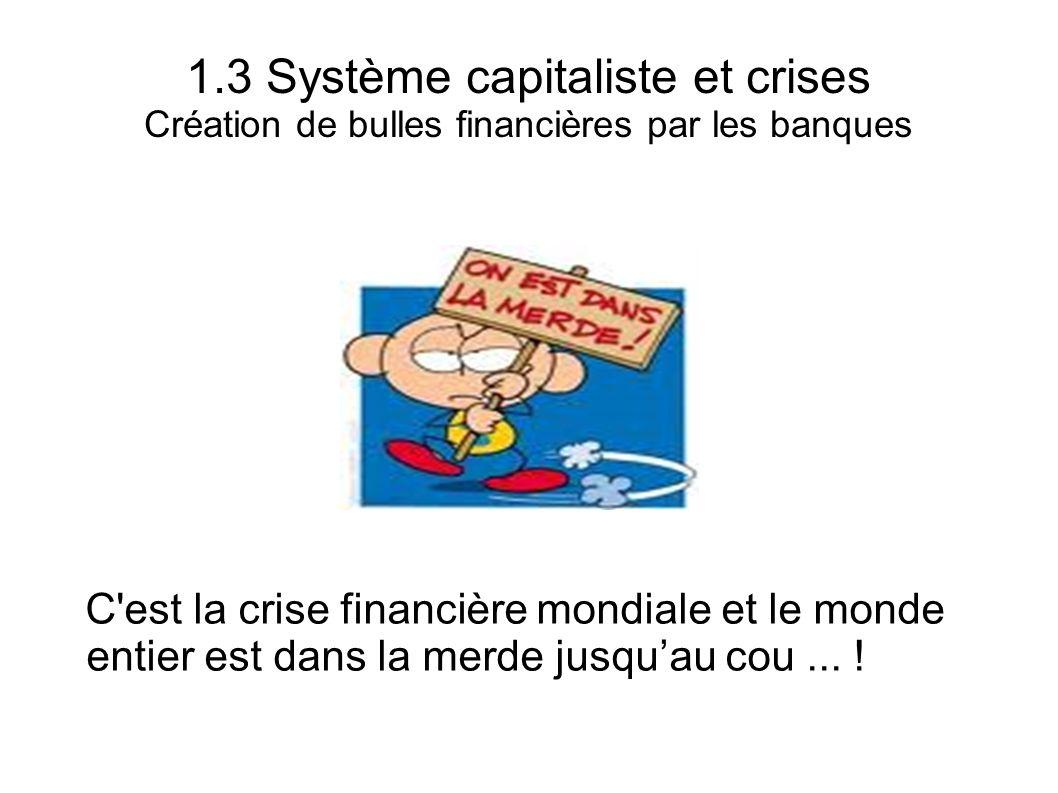 1.3 Système capitaliste et crises Création de bulles financières par les banques C'est la crise financière mondiale et le monde entier est dans la mer