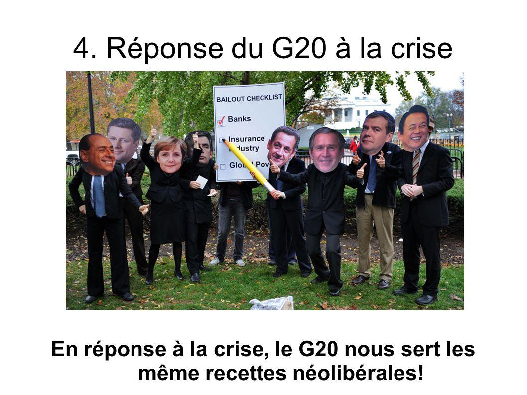 4. Réponse du G20 à la crise En réponse à la crise, le G20 nous sert les même recettes néolibérales!