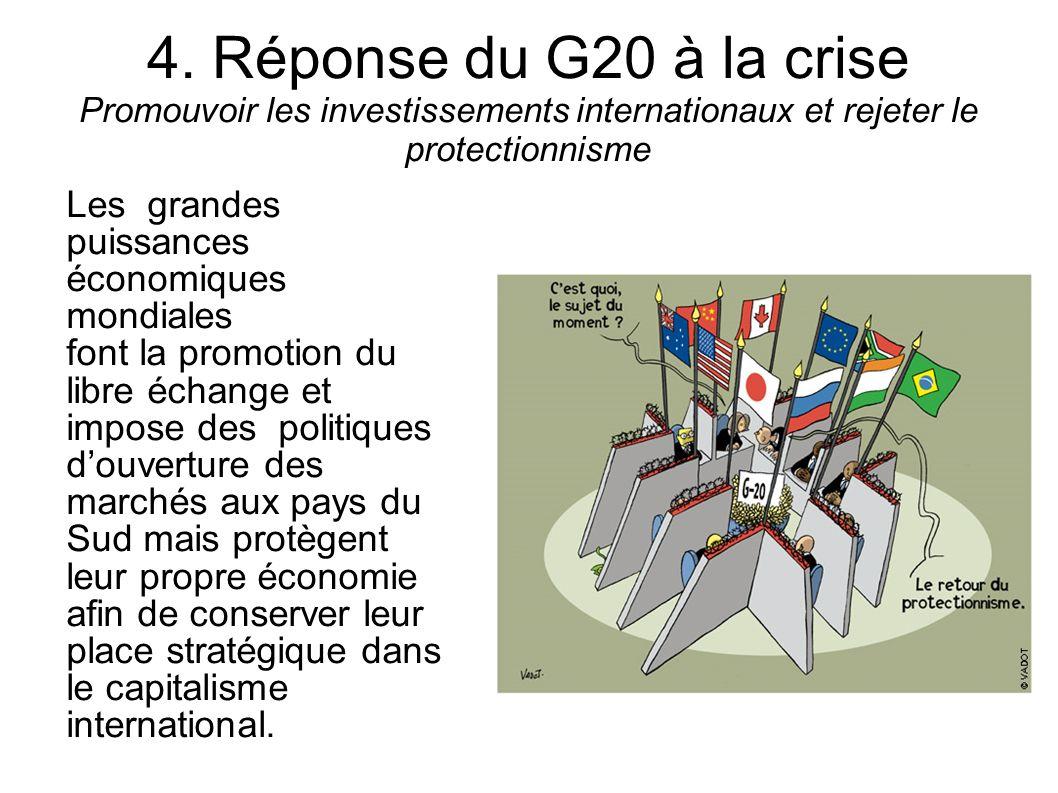 4. Réponse du G20 à la crise Promouvoir les investissements internationaux et rejeter le protectionnisme Les grandes puissances économiques mondiales